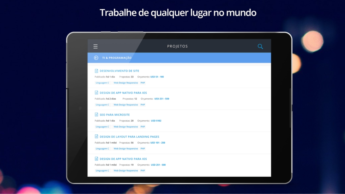 Aplicativo Workana tablet