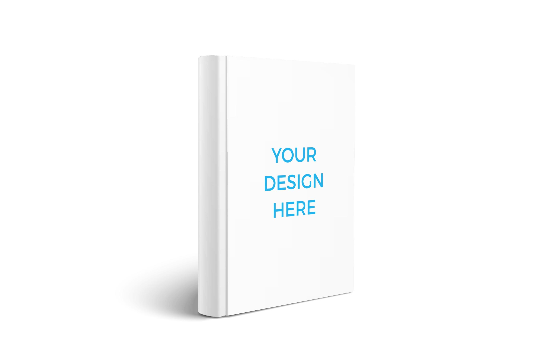 Smartmockups livro impresso de capa dura em pé visto da lateral